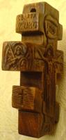 Резной нательный крестик с Архангелами