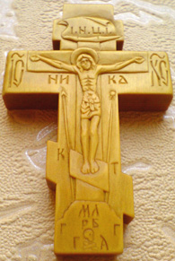 Резной крестик с АРХАНГЕЛОМ Михаилом и  АРХАНГЕЛОМ Гавриилом