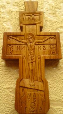 Резной крестик с образами Св. Архангела Михаила и Богородицы Умиление Серафимо-Дивеевское.