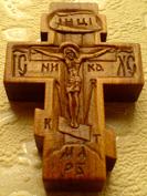 Резной деревянный крестик с Архангелами
