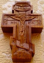 Резной крестик с ликами Св. Николая Чудотворца, Св. Арх. Михаила и Св. Георгия Победоносца