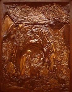 Резьба по дереву. Икона Рождество Христово