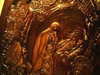 Резьба по дереву. Икона Рождество Христово. Фрагмент