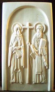 Резьба по дереву. Икона св. равноап. Кирилл и Мефодий