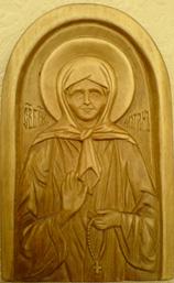 Резная икона. Святая Блаженная Матрона Московская