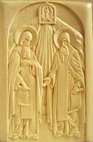 Резьба по дереву. Икона прп. Сергий и прп. Герман Валаамские