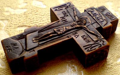 Резной деревянный крестик с образом Прсвт. Бцы. Иверская    и ликом Св. Архангела Михаила