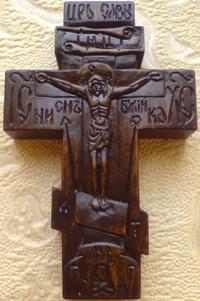 Резной крестик с ЛИКАМИ Святого праведного исповедника Иоанна Русского   и Св. Благоверного князя Вячеслава