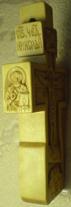 Резной деревянный крестик с ликами святых