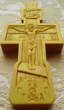 Резьба. Крестик с образами Св. Николая Чудотворца и Богородицы.
