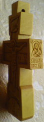 Резной деревянный крест. Деисус. Ручная работа