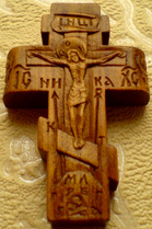 Резной деревянный крест. Деисус