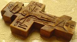 Резной деревянный крестик нательный
