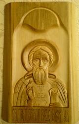 Резная икона. Преподобный Сергий Радонежский
