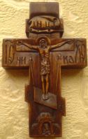 Резной крестик из дерева с АРХАНГЕЛОМ Михаилом и  АРХАНГЕЛОМ Гавриилом