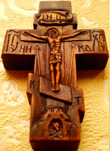 Резной деревянный крестик с АРХАНГЕЛАМИ ручной работы
