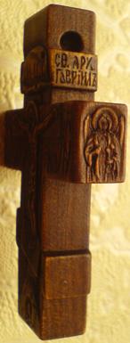 Резьба. Крестик из дерева с АРХАНГЕЛАМИ.