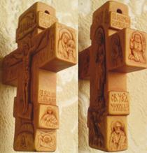 Крестик с ЛИКАМИ Св. Серафима Саровского,  Св. Николая Чудотворца. С другой стороны крестика: Казанская икона Божией Матери и Св. Великомученик и целитель Пантелеимон. На обратной стороне: Преображение Господне