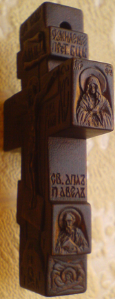 Резной нательный крестик из дерева со святыми: Св. Николай Чудотворец, Св. прп. Серафим Саровский, Св. АПОСТОЛ Павел, образ Богородицы Умиление, СЕРАФИМЫ и текст из 90-го Псалма