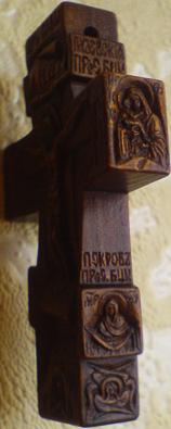 Резной нательный крестик из дерева с ОБРАЗАМИ БОГОРОДИЦЫ: Казанской, Почаевской, Всех скорбящих радость, ПОКРОВ ПРЕСВЯТОЙ БОГОРОДИЦЫ, с Ангелом-Серафимом и с текстом из 90-го Псалма